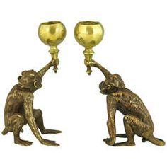 Pair of Antique Vienna Bronze Monkey Candlesticks By F. Bergmann 1900