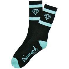 Diamond Sport Socks in Black/Diamond Blue Sock Shoes, Cute Shoes, Diamond Supply Co, Ecommerce Platforms, Sport Socks, Apparel Design, Bag Accessories, Street Wear, Mens Fashion