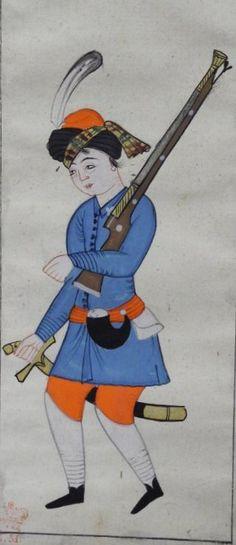 Azeb, a marine, Ottoman. Peter Mundy's Album, 1618.