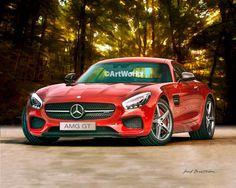 Auto Art, Sports Car, Automobile Art, Wall Decor, Classic, Mercedes AMS GTS - 8x10 Print - AW106 by ArtWorkz on Etsy