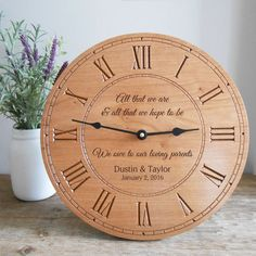Shop our personalized cherry wood clock for parents of the bride and groom. Have it engraved with your own message and wording.