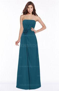 Moroccan Blue Gorgeous A-line Sleeveless Chiffon Floor Length Flower Bridesmaid Dresses