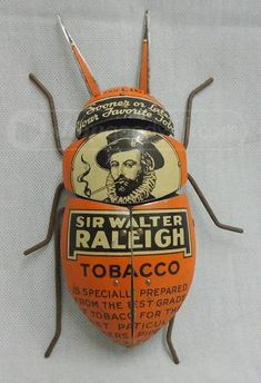 orange - bug - Tobacco can bug art - Sir Walter Raleigh Tobacco tin Found Object Art, Found Art, Altered Tins, Pot Pourri, Creation Art, Bug Art, Insect Art, Assemblage Art, Yard Art