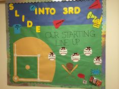 Baseball themed bulletin board for back to school