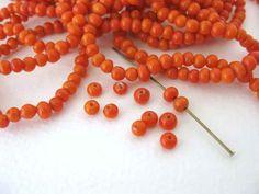 Vintage Glass Beads Coral Orange Pumpkin Swirl