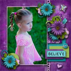 Bright Purple Scrapping Page...love the purple & teal together.
