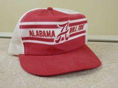 8b970ecc Vintage Alabama Roll Tide Super Stripe Snapback Mesh Trucker Hat Cap  Crimson USA