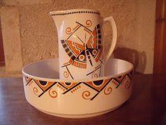 Francouzský art deco, secese koupelna džbán a miska, od Badonviller, motýl, 1900-1905, velmi pěkný stav