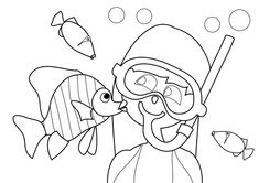 Summer Coloring Pages - Snorkeling