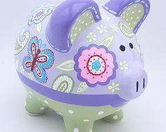 Daisy Garden Personalized Piggy Bank en verde, amarillo y azul Floral The Little Couple, Paisley, Personalized Piggy Bank, Deer Silhouette, One Stroke Painting, Porcelain Ceramics, Nursery Art, Amazing Gardens, Green And Gold