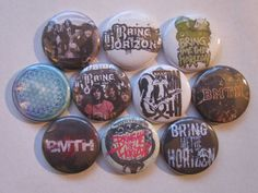 Bring Me The Horizon BMTH Pinback Buttons Badges Pins    Each button is one inch across. See the last picture for size. Choose from pin back,