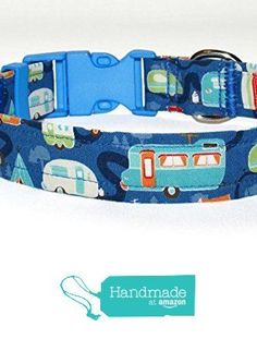 Dog Collar - Blue Collar With RV Campers - 4 Sizes - Optional Key Fob Wristlet - Camping Accessories from Green Acorn Kitchen https://www.amazon.com/dp/B06XXTD7PP/ref=hnd_sw_r_pi_dp_HuO4yb9TCV4S3 #handmadeatamazon