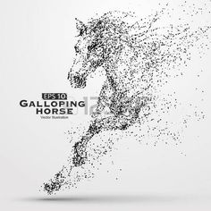 Illustration of Galloping horse,particles,vector illustration. vector art, clipart and stock vectors. Horse Silhouette, Silhouette Vector, Dotted Drawings, Pencil Art Drawings, Horse Clip Art, Stippling Art, Free Horses, Horse Logo, Tattoo Graphic