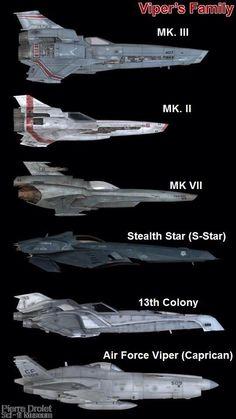 Battlestar Galactica. Nves viper. Varios modelos.