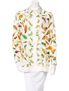 Hermès Plumes Silk Blouse