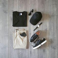Beige & Black. Follow @capsulewardrobemen . . . . #mensfashion #outfitgrid #flatlay #vscogrid