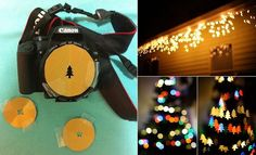Cut a circle out of cardboard with a diameter of your lens and inside the cut Christmas tree (star, heart, snowflake, etc.). Stick with adhesive tape cardboard over the lens.