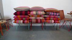 pillows made from vintage frazadas - via remodelista.com