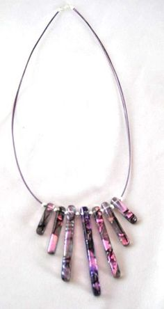 Handmade Dichroic Glass Necklace 7-Bar Purple & Pink with black accents. A real stunning necklace!