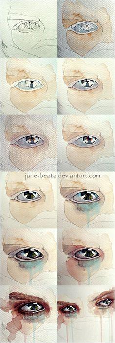 眼睛水彩教...来自蓝天下的海贼的图片分享-堆糖网