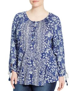 Lucky Brand Plus Floral Print Blouse