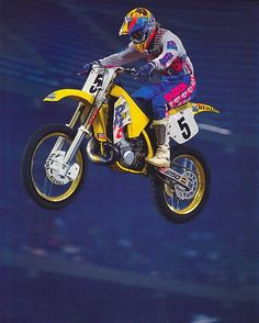 Factory Suzuki's Guy Cooper logging some frequent flyer miles on his RM250 in 1991 - Jeff Ames Photo #Airtime #Supercoop #Motocross #Zook #MSR #Supercross #90sMoto