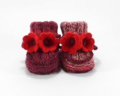 Baby Booties Hand Knitted Baby Boots with by SasasHandcrafts