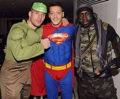Chelsea star Ashley Cole joined rival team-mates from Arsenal as the Gunners celebrated their Christmas party on Wednesday night - despite Jose Mourinho cancelling his players' own festive bash. Football Jokes, Football Is Life, Football Soccer, Superman, Lukas Podolski, Fa Cup, Arsenal Fc, Soccer Players, Fancy Dress