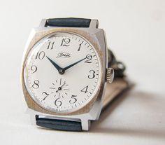 Soviet men's wrist watch ZIM silver navy dark by SovietEra on Etsy, $51.00