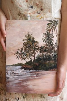 Giclee fine art print of palm trees and beach scene or landscape art with a warm pink colour palette. Th original painting was done in acrylic. Pink Color, Colour, Beach Scenes, Landscape Art, Mixed Media Art, Palm Trees, Fine Art Prints, Original Paintings, Around The Worlds