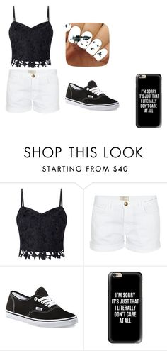 """""""Black and White"""" by simply-07 on Polyvore featuring Lipsy, Current/Elliott, Vans and Casetify"""