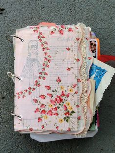 Junk journal cover. I love the different patterns on each piece of paper!