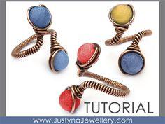 Wire Jewelry Tutorial, Beaded Ring Tutorial, Wire Wrapping Tutorial, Beading Ring Tutorial, Wire Ring Pattern, Adjustable Ring Tutorial