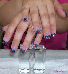 Acrylic blue Nail designs http://fashplanet.com/2013/04/21/acrylic-nail-designs-summer-2013/