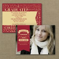 Word Cloud Photo Graduation Invitation