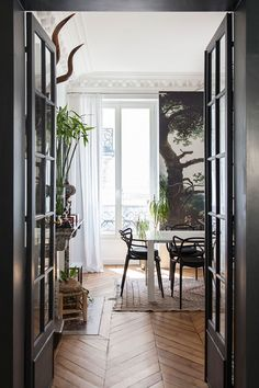 dark french doors and wall mural. / sfgirlbybya