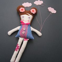 Sweet Doll Handmade Fabric Doll Soft Doll Pastel by thedollsunique, $45.00