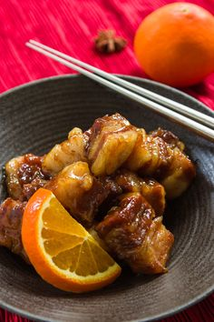 Pork belly braised with orange marmalade, star anise, cinnamon and ginger. Sweet, savory and melt-in-your-mouth tender
