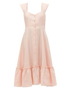 Great for Gioia Bini Camilla ruffle-trimmed linen dress Womens Dresses from top store Beach Wear Dresses, Linen Dresses, Cotton Dresses, Summer Dresses, Peasant Dresses, Baby Dresses, Simple Dresses, Casual Dresses, Camilla Dress