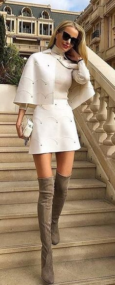 #spring #outfits white turtle neck crop top and white skirt. Pic by @_luxury_fashion_style
