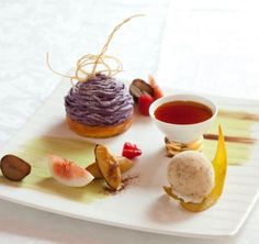 Dessert of the Season: Purple Mont-Blanc on Cheese Cake , Pumpkin Pudding, and Black Caramel Ice Cream, with season's fruits - by Shiseido Parlor, Ginza, Tokyo