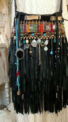 Handmade Black Leather Fringe Cross Body Bag Hippie Boho Hobo Charm Purse tmyers #Handmade #MessengerCrossBody