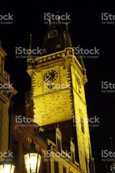 Tower of the astronomical clock of Prague at night foto stock royalty-free
