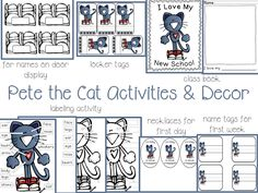 Pete the Cat Activities  Decor Freebies .... Follow for free 'too-neat-not-to-keep' teaching tools  other fun stuff :)