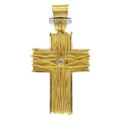 10K Yellow Gold Cross Pendant Plain Latin Crucifix Necklace Charm Women Men