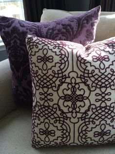 Decorative Pillows in Aubergine to match the settee