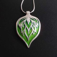 Big silver pendant - green leaf - enamelled