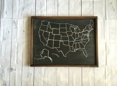 Chalkboard United States Map SMALL SIZE Travel Theme Nursery - Blank map of the us travel log