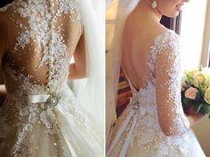 vestidos de noiva com renda e decote nas costas