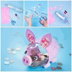 DIY Piggy bank with plastic bottles Kids Crafts, Diy And Crafts, Craft Projects, Arts And Crafts, Recycled Crafts Kids, Recycle Crafts, Plastic Bottle Crafts, Plastic Bottles, Soda Bottle Crafts